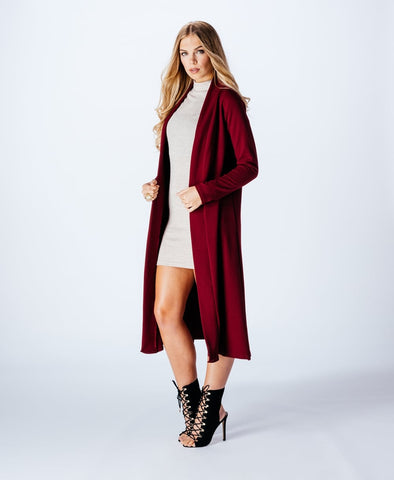 Long Sleeve Longline Maxi Tailored Jacket- Maroon - Gingerlining