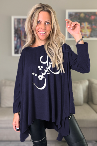 3/4  Sleeves Poncho Top -Navy/ Silver Ishq (6155452448942)