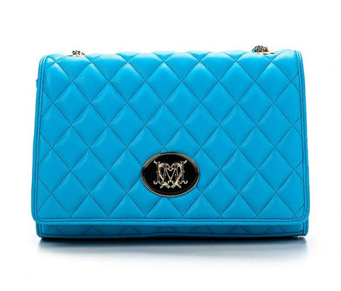 Love Moschino Quilted Logo Shoulder Bag - Blue - Gingerlining