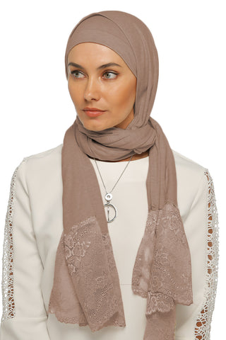 One Piece Full Cover Lace Turban - Mocha