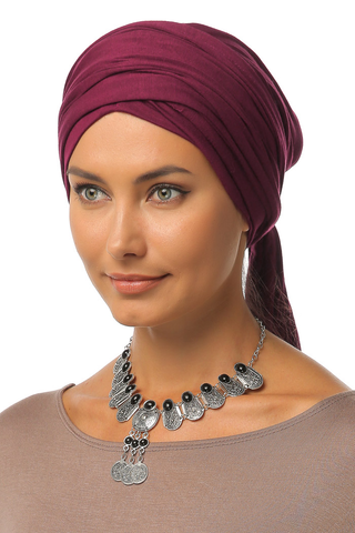 Multi-way Wrap Turban -  Wine - Gingerlining