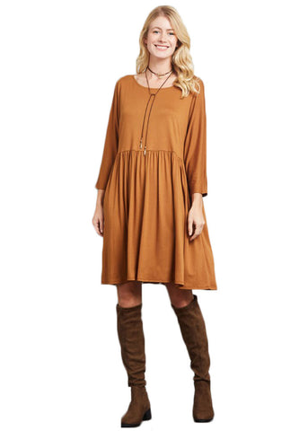 Babydoll Dress- Camel - Gingerlining