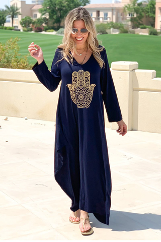 Hamsa Long V-Neck Cotton Dress - Navy (1820199518252)
