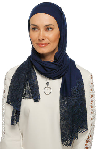 One Piece Full Cover Lace Turban - Navy
