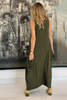 Skull Sleeveless Round Neck Cotton Maxi Dress - Olive (1864776417324)