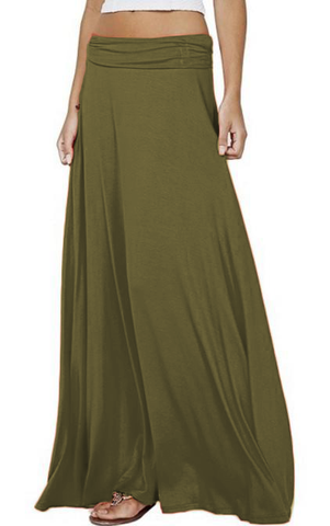 Maxi Cotton Jersey Skirt With Elastic Waist (6306496381102)