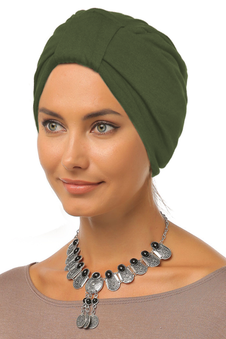 Simple Tab Turban - Olive - Gingerlining