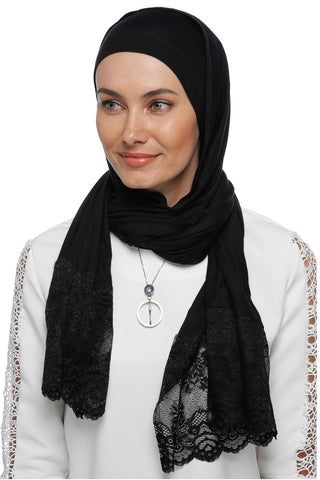 One Piece Full Cover Lace Turban - Black/ Black Lace