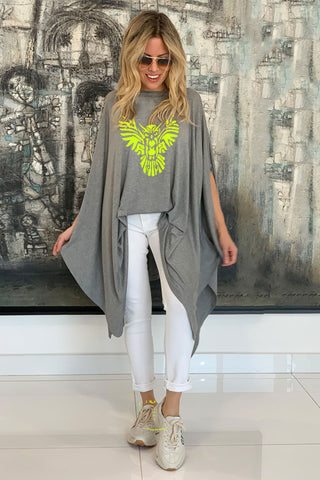 Owl Cotton Poncho Top - Grey/ Yellow (5675045978266)