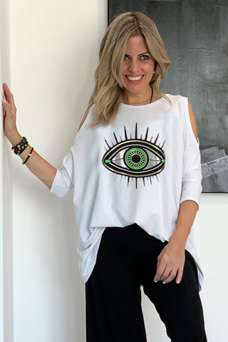 Peek A Boo Top With Evil Eye  - White