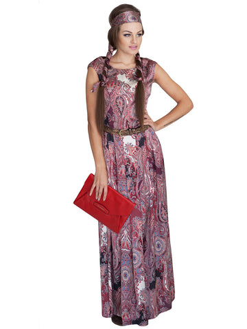 Paisley Printed Dress- Red