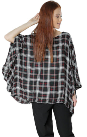 Plaid Oversize Woven Top- Black