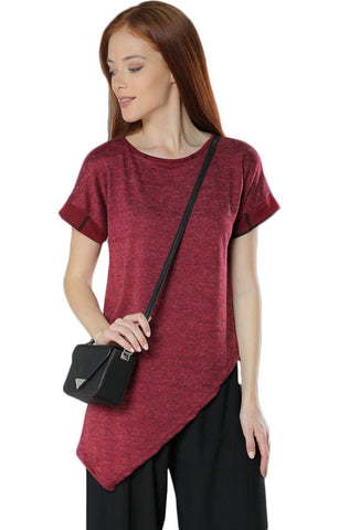 Asymmetrical Short Plaid Sleeves Top- Burgundy - Gingerlining (8412582097)