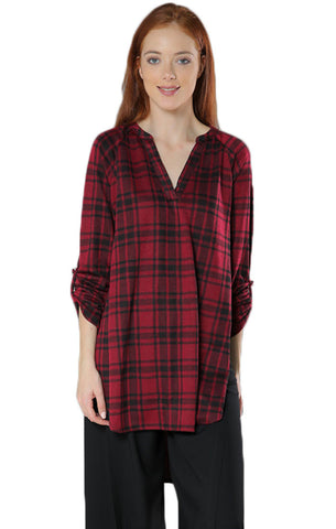 Plaid V-Neck High Low Tunic- Wine - Gingerlining
