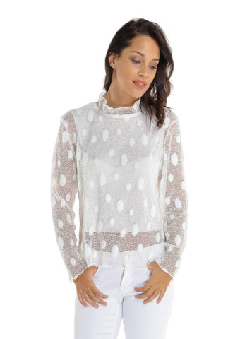 Polka Dot Mesh Lace Top- Ivory
