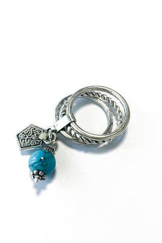 Stacking Ring – 925 Egyptian sterling Silver / Blue Stone - Gingerlining