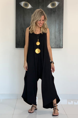Black Cotton Harem Jumpsuit - Black (3890508660780)