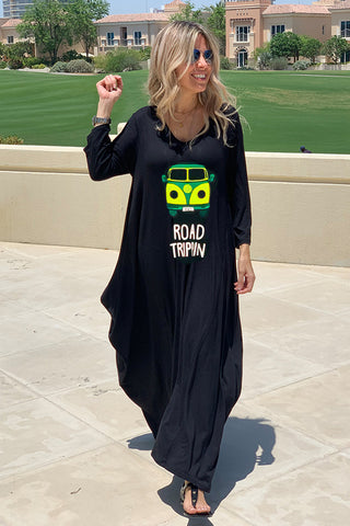 Road Trippin 3/4 Sleeves V-Neck Cotton Maxi Dress - Black