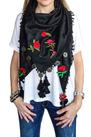 Oriental Charm scarf - Roses Are Red / Black