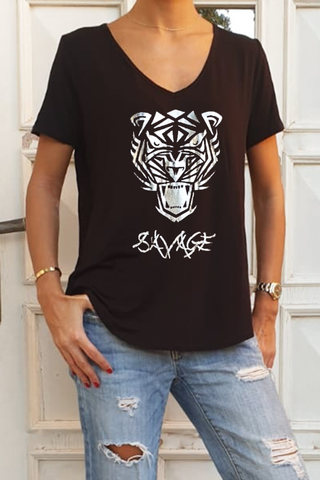 Savage Basic Cotton Jersey V Neck Tee - Black (6328179196078)