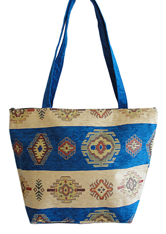 Shapes style Tote  - Blue/White - Gingerlining