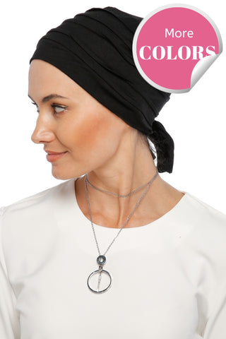Simple Drape Tie Turban Black