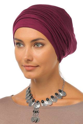 Simple Drape Turban - Wine - Gingerlining