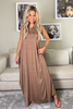 Sleeveless Round Neck Cotton Maxi Dress - Mocha (5794675097754)