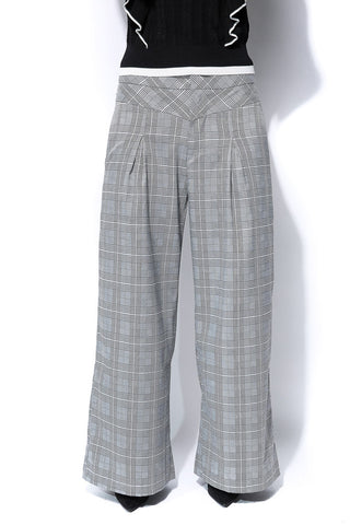 High Waist Checks Print Pant - Grey - Gingerlining