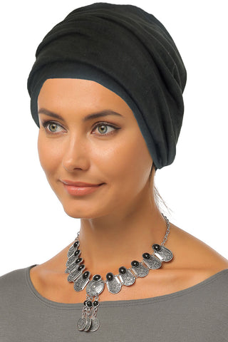 Suede Simple Drape Turban - Black
