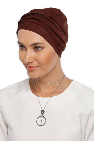 Suede Simple Drape Turban - Brown