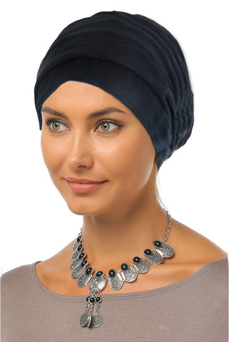 Suede Simple Drape Turban - Navy