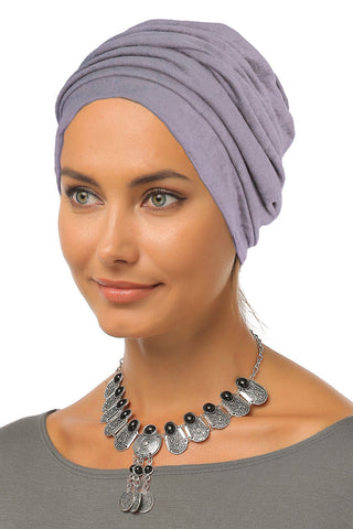 Suede Simple Drape Turban - Grey