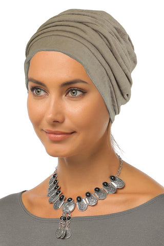 Suede Simple Drape Turban - Olive