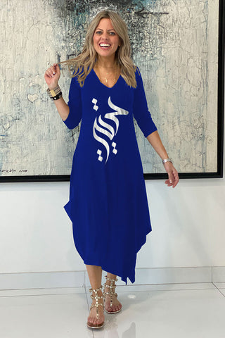 Long Sleeves Total Comfort Dress - Freedom / Blue