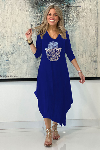 Long Sleeves Total Comfort Dress - Blue /Silver Hamsa (6152931344558)