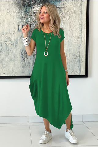Short Sleeves Total Comfort Dress - Green (5572298145946)