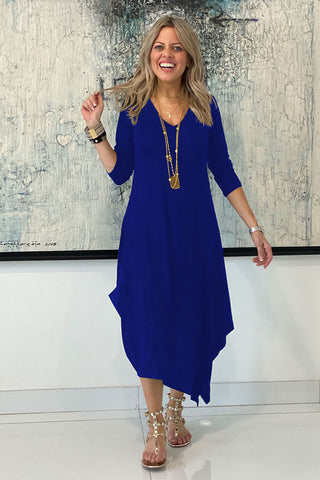 Long Sleeves Total Comfort Dress - Blue (4428923338885)