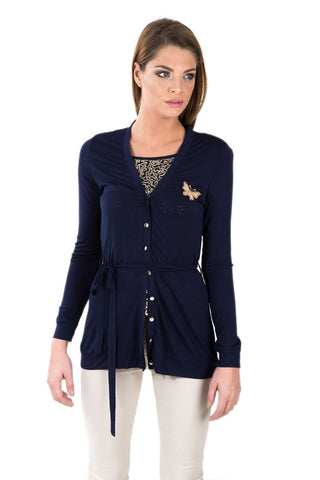 Twin Set Top with Sequin Inner- Navy Blue - Gingerlining