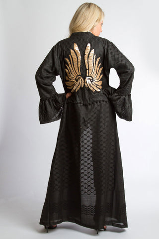 Free Fall With Wings Kimono - Black