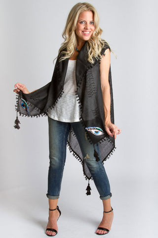 Mystique Sleeveless Kimono- Eye/Black