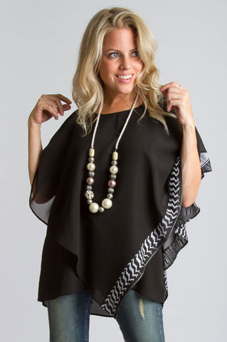 Layered Chiffon Top - Black