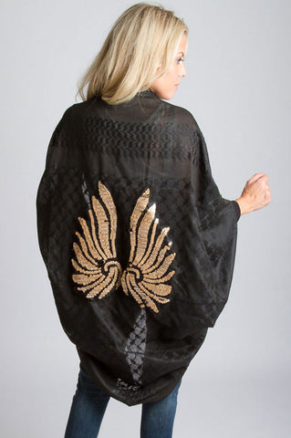 All Day Kimono Cardi With Wings- Black