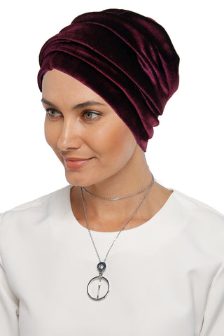 Velvet Simple Drape Turban - Burgundy