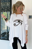 Long Sleeves Poncho Top - White/Egyptian Eye (5525304017050)