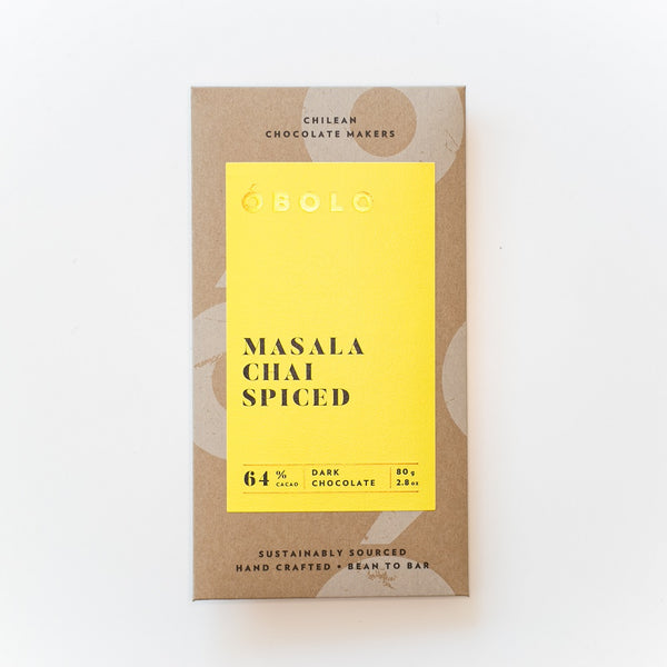 BARRA CHOCOLATE 64% CACAO MASALA CHAI SPICED - OBOLO CHOCOLATE