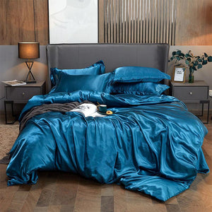 4PCS SUPER SOFT Luxury Silk Bedding Set(FREE SHIPPING)1 BED SHEET+1 QUILT COVER+ 2 PILLOWCASE
