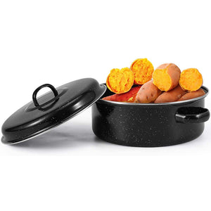 Enamel Roasting Pot with Rack and Self Basting Lid(NO INDUCTION COOKER)