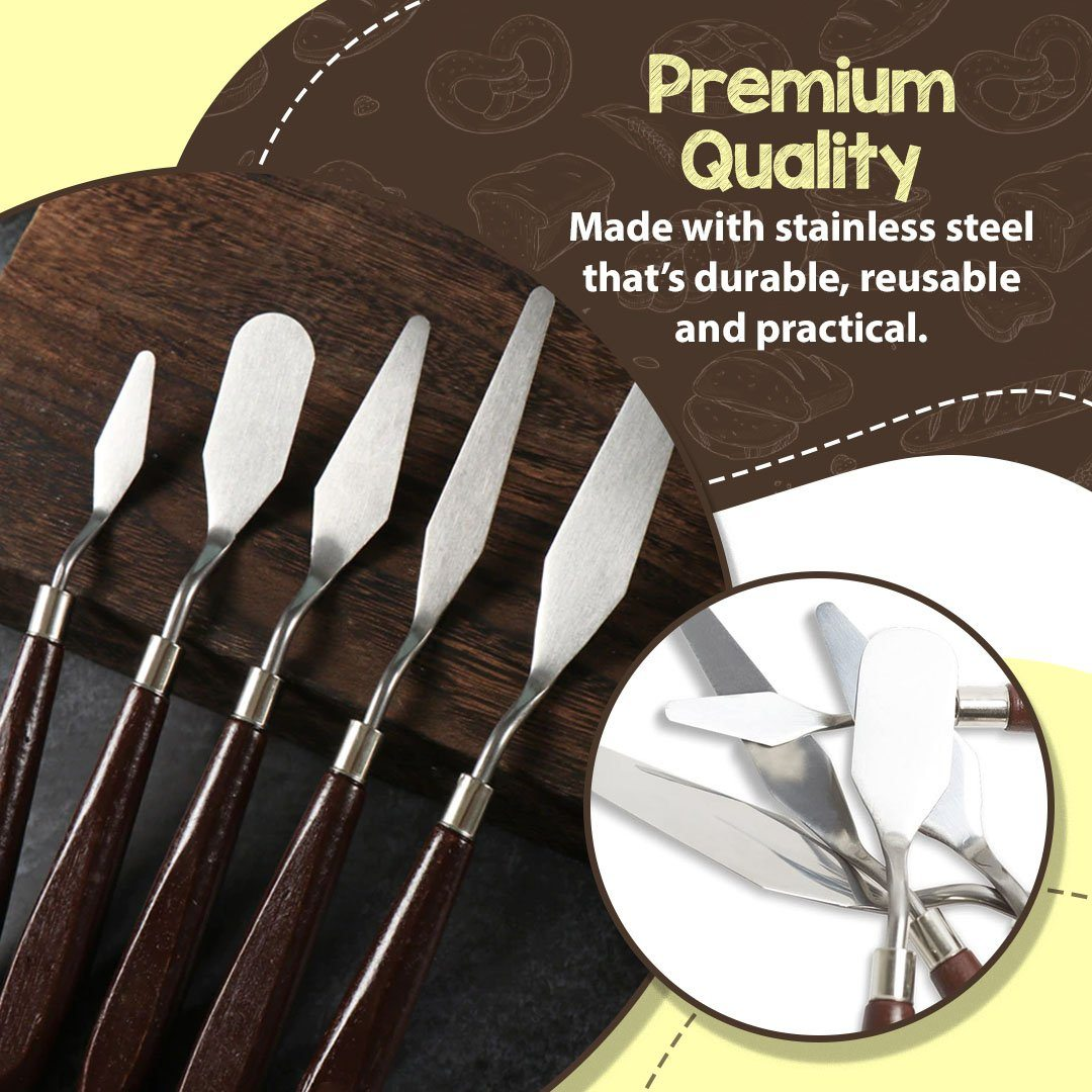 5Pcs Stainless Steel Baking Pastry Spatulas