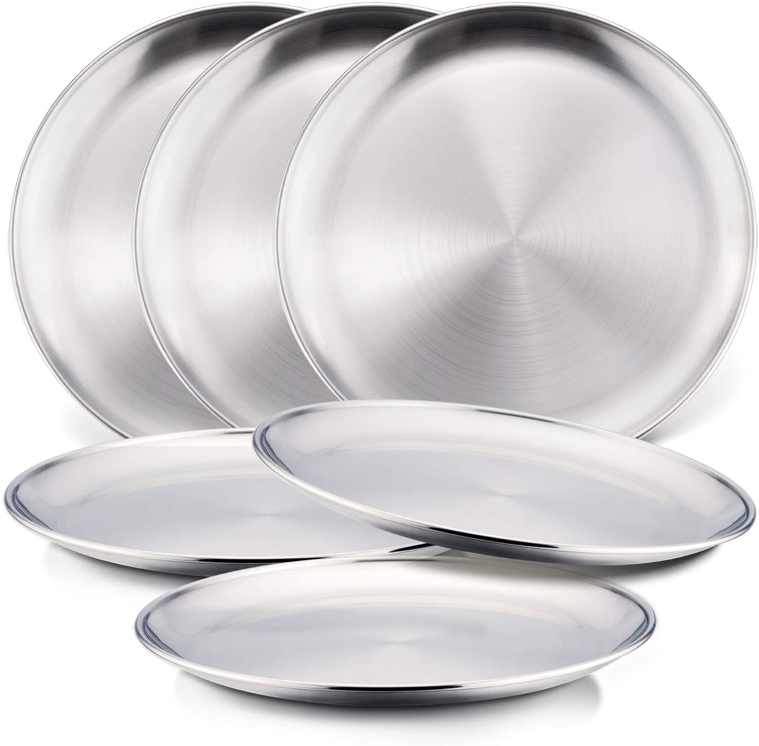 304 Stainless Steel Plates & Cups,E-far 8-inch Metal Dinner Plates